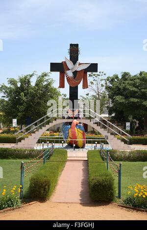 Cross symbol of Sacred hart and Holy Spirit at Jerusalem Spiritual Park ; Thalore ; Kerala ; India - Stock Photo