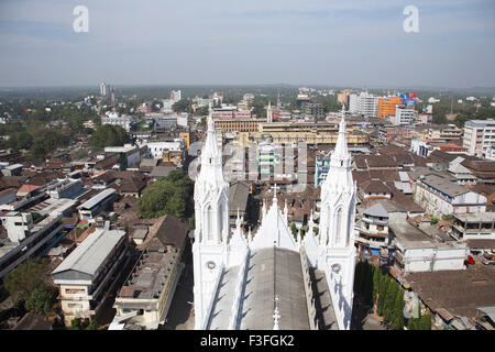 View from the top floor of 260 feet high Bible tower of Shrine Basilica of Our Lady of Dolours back ground Thrissur - Stock Photo