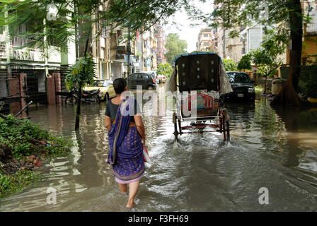 Calcutta Flood ; Flooded Calcutta residential areas at Calcutta ; West Bengal ; India - Stock Photo