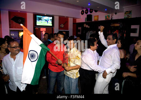 People celebrating India wins cricket match world cup 20 20 v/s Pakistan - Stock Photo