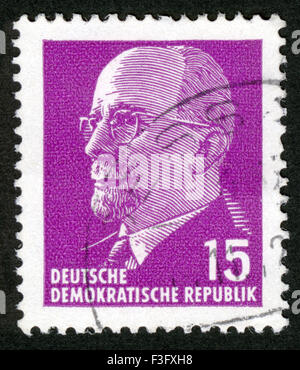 Germany, post mark,stamp,about 1971: stamp printed in GDR (East Germany) shows Chairman Walter Ulbricht portrait, - Stock Photo