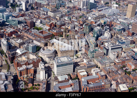 An aerial view of Manchester City Centre, North West England, Town Hall dominant - Stock Photo