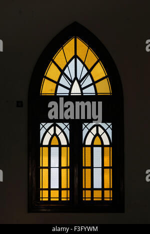 Stained glass window in St. Michael's Church in Kodungallur ; Kerala ; India - Stock Photo