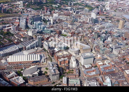 An aerial view of Manchester City Centre, North West England - Stock Photo