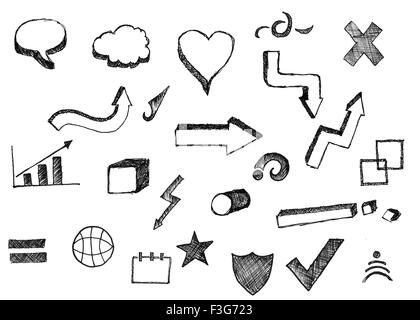 Set of hand-painted icons - Stock Photo