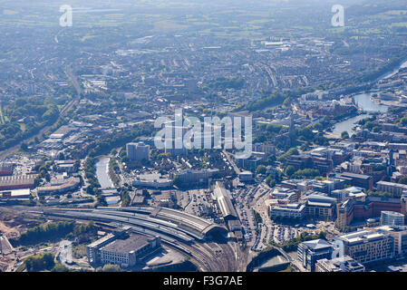 Bristol from the air, South West England, UK, Temple Meads Sation foreground - Stock Photo