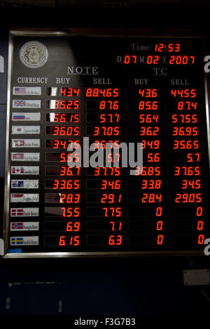 Neon sign board of currency exchange travelers cheque exchange rates at General Post Thimpu Royal Govt of Bhutan - Stock Photo