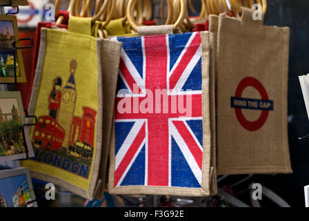 Jute bags with London National flag ; Piccadilly Circus ; London ; U.K. United Kingdom England - Stock Photo