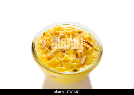 Indian dessert kesar saffron shrikhand creamy yoghurt served in bowl - Stock Photo
