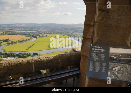 The battlefield of Stirling Bridge surrounded by The River Forth and Stirling viewed from The National Wallace Monument, - Stock Photo
