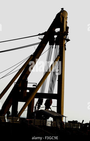 Asian Hercules floating crane having capacity 1600 metric tones erecting Bandra Worli sea ; Bombay Mumbai - Stock Photo