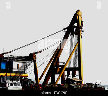 Asian Hercules floating crane having capacity 1600 metric tones erecting Bandra Worli sea Bombay Mumbai Maharashtra - Stock Photo