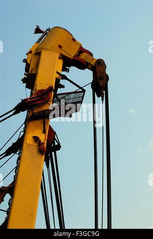 Asian Hercules floating crane having capacity 1600 metric tones erecting Bandra Worli sea ; Bombay Mumbai ; Maharashtra - Stock Photo