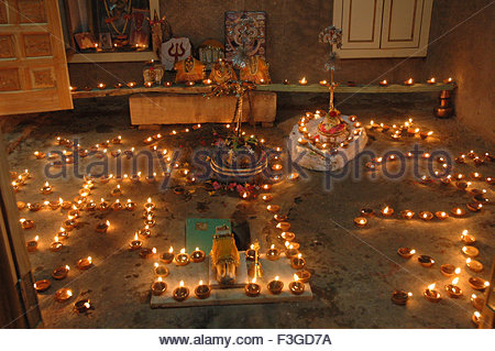 Decoration with oil lamps in temple ; Rajasthan ; India - Stock Photo