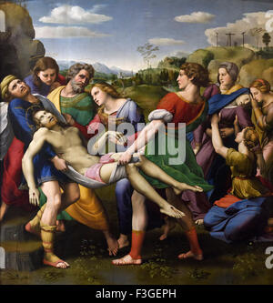 Rome. Italy. Galleria Borghese. The Deposition of Christ, 1507–1508 by Raphael,  Oil on wood. - Stock Photo