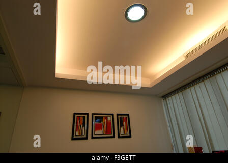 Pharmaceutical Research Laboratry ; lab ; office ; decorative ceiling with lights and three painting ; Bombay Mumbai - Stock Photo