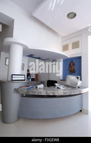 Pharmaceutical Research Laboratry ; lab ; office; reception counter ; Ganesh Idol ; computer ; books telephone ; - Stock Photo