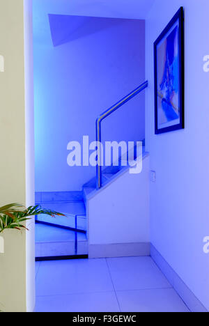 Pharmaceutical Research Laboratry ; lab ; office ; staircase entrance ; decorated with blue lights ; painting Mumbai - Stock Photo