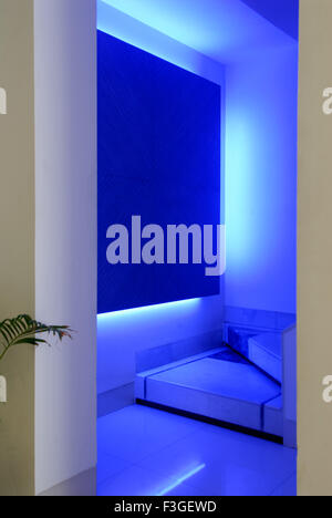 Pharmaceutical Research Laboratry ; lab ; office ; staircase entrance ; decorated with blue lights Mumbai - Stock Photo