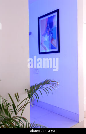 Pharmaceutical Research Laboratry ; lab ; office ; entrance ; decorated with blue lights ; painting Mumbai - Stock Photo