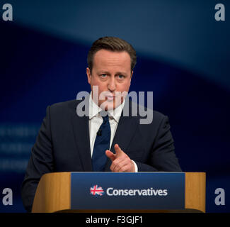 Manchester, UK. 7th October 2015. British Prime Minister David Cameron speaks at Day 4 of the 2015 Conservative - Stock Photo
