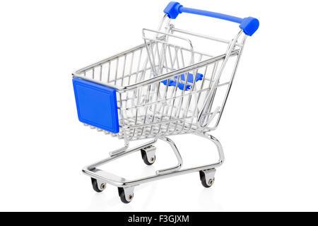 Blue shopping cart on white - Stock Photo