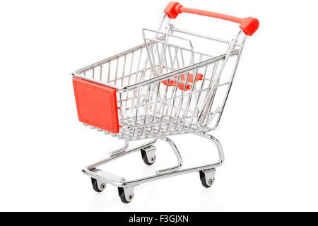 Red shopping cart on white - Stock Photo