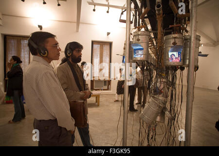Movie playing Lunch box being watched by Jagdish Agarwal Ghost Transmemoir exhibition Contemporary Bose Krishnamachari - Stock Photo