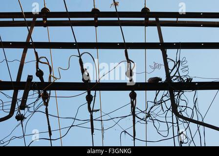 Jumble of electricity wires ; Jodhpur ; Rajasthan ; India - Stock Photo
