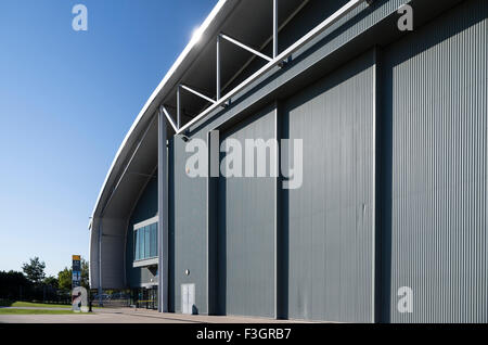 Giant sliding doors and entrance to AirSpace hangar at IWM Duxford UK - Stock Photo