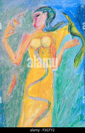 Woman with bird on her hand and snake painted on sari flower in her hand oil pastel on paper - Stock Photo