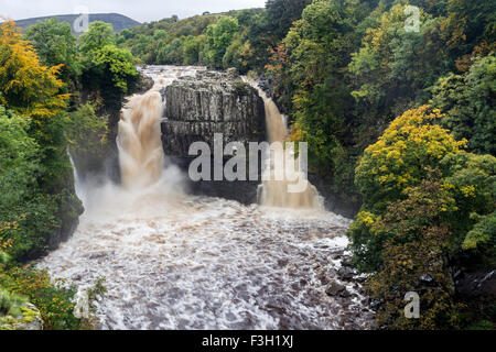 River Tees, High Force, Upper Teesdale, County Durham.  Wednesday 7th October 2015, UK Weather.  This was the scene - Stock Photo