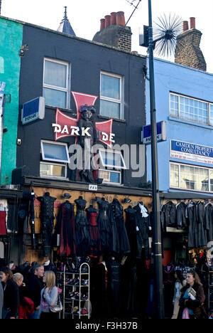 Leather goods store in Camden town market ; London ; U.K. United Kingdom England - Stock Photo