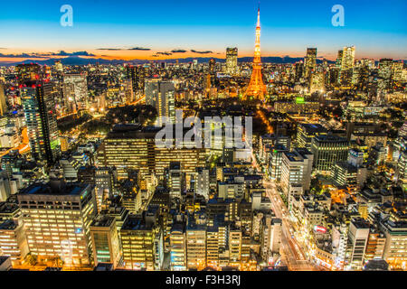 Tokyo tower,view from World Trade Center Building,Hamamatsucho,Tokyo,Japan - Stock Photo