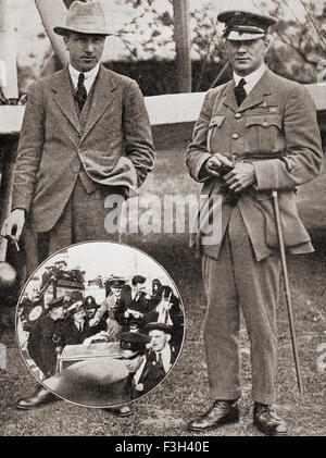 Lieutenant Colonel Sir Arthur Whitten Brown, 1886– 1948, left, and Captain Sir John William Alcock, 1892 – 1919, - Stock Photo