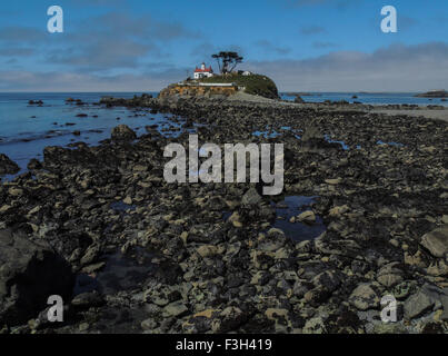 Historic (1856) Battery Point Lighthouse, Crescent City, California, Pacific Coast. Viewed from the Jetty which - Stock Photo