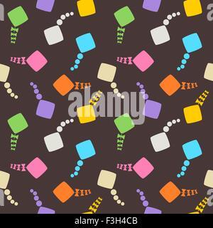 Multicolored kites seamless pattern on dark background. - Stock Photo