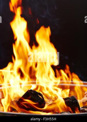 Fire, burning charcoal - Stock Photo