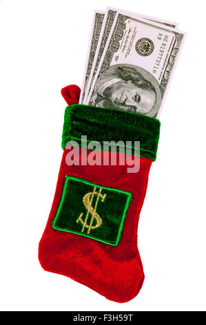 Christmas Stocking With Money - Stock Photo