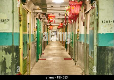 Corridor in building, Tsim Sha Tsui, Hong Kong - Stock Photo