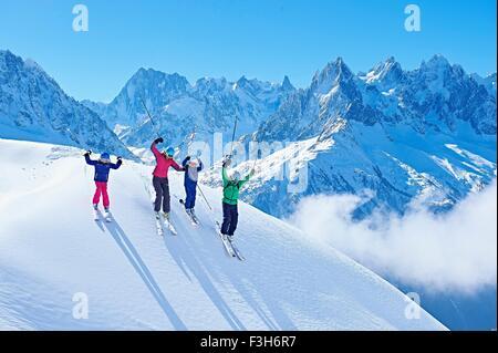 Family on ski trip, Chamonix, France - Stock Photo