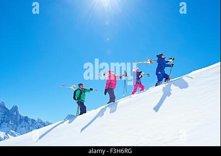 Family on ski trip, Chamonix, France - Stock Photo