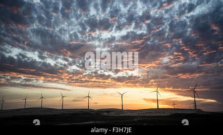 Wind turbines in a row on wind farm against dramatic sky - Stock Photo