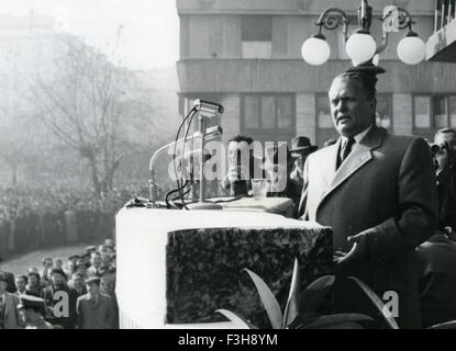 JOSIP BROZ TITO (1892-1980) Yugoslavian leader speaking about Trieste in Belgrade 15 November 1953 during a general - Stock Photo