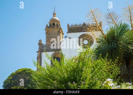 Low angle view of domed tower of Medina Sidonia church, Andalucia, Spain - Stock Photo