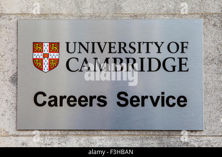 CAMBRIDGE, UK - OCTOBER 4TH 2015: A sign at Cambridge University marking the location of the Careers Advice Centre - Stock Photo