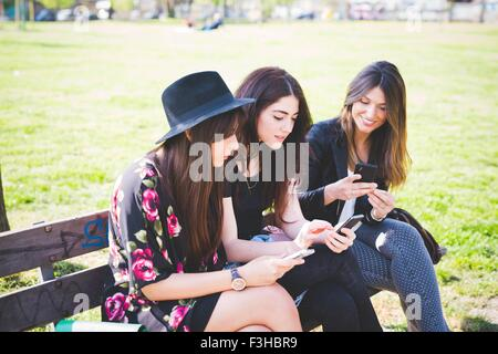 Three young female friends reading their smartphones on park bench - Stock Photo