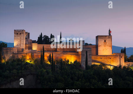 Nightfall in La Alhambra, Granada, Andalucia, Spain - Stock Photo
