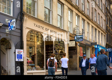 EDINBURGH, SCOTLAND - JUNE 11, 2015: Shop selling Scottish specialties in the Old Town of the city of Edinburgh - Stock Photo