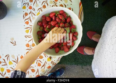 Overhead view of boys hand picking up fresh strawberry from bowl - Stock Photo